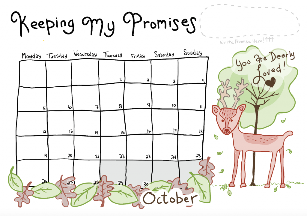An illustrated deer stands beneath a tree. Leaves fall to the ground. To its left is a calendar grid with dates marked out for the month of October.