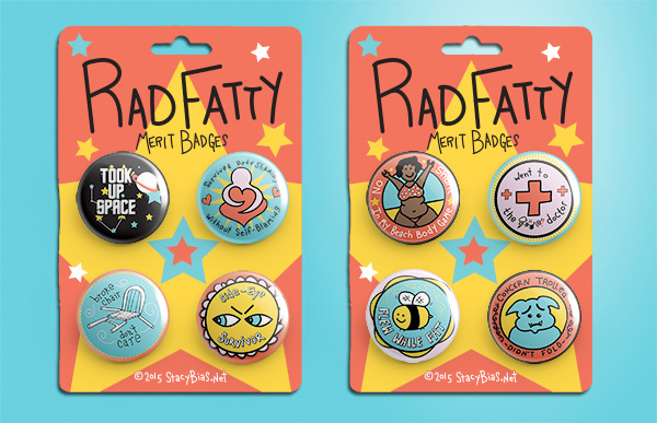 Rad Fatty merit Badge 8-pack of pins.
